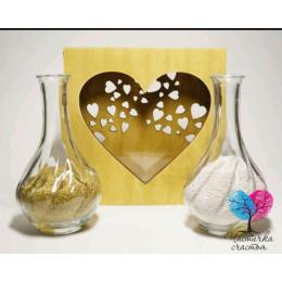 Набор для песочной церемонии Сердце золото