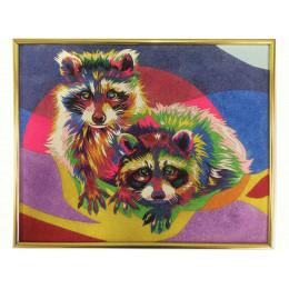 Картина из цветного песка Еноты