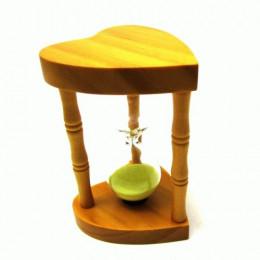 Деревянные песочные часы Два сердца на 5 минут