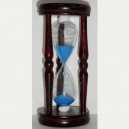 Деревянные песочные часы на 1 минуту с синим песком