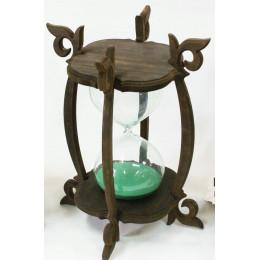 Деревянные песочные часы на 30 минут с зеленым песком