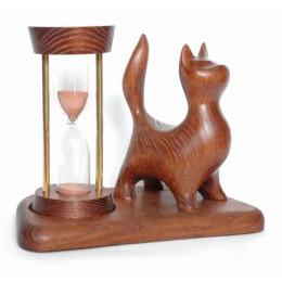 Деревянные песочные часы Котик на 5 минут